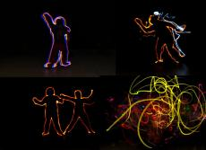 Montage 4 photos Light painting