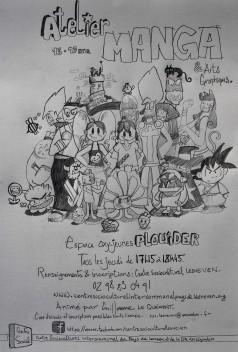 Affiche Atelier Manga Plouider, CSC Lesneven.