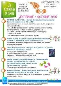 decouvertes du centre septembre-octobre 2016